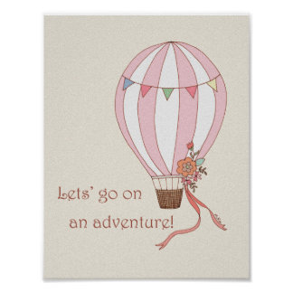 Hot Air Balloon Adventure Poster Retro Wall art