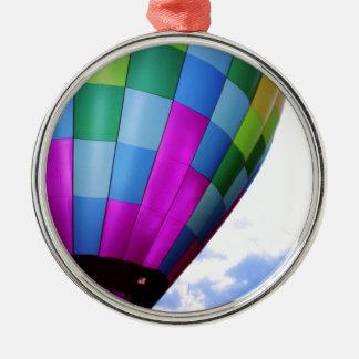 Hot Air Balloon Against Dusk Sky Round Metal Christmas Ornament