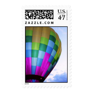 Hot Air Balloon Against Dusk Sky Stamp