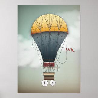Hot Air Balloon Airship Abeelle Steampunk Travel Poster