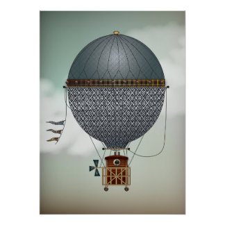Hot Air Balloon Airship Indigon | Steampunk Travel Poster