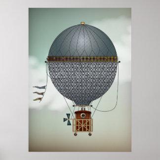 Hot Air Balloon Airship Indigon Steampunk Travel Print