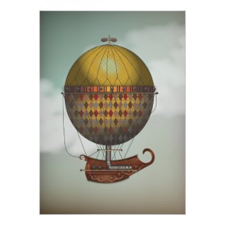 Hot Air Balloon Airship Nautisme Steampunk Travel Posters