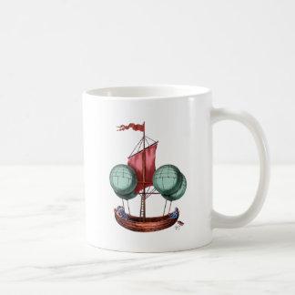Hot Air Balloon Airship With Red Sail Coffee Mug
