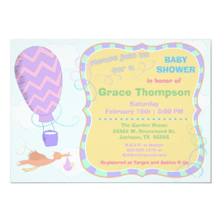 Hot Air Balloon and Stork with Baby Shower Invite