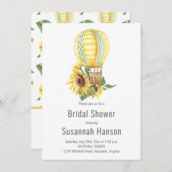 Hot Air Balloon and Sunflowers Bridal Shower Card