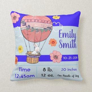 Hot Air Balloon Baby Birth Memory Pillow Keepsake