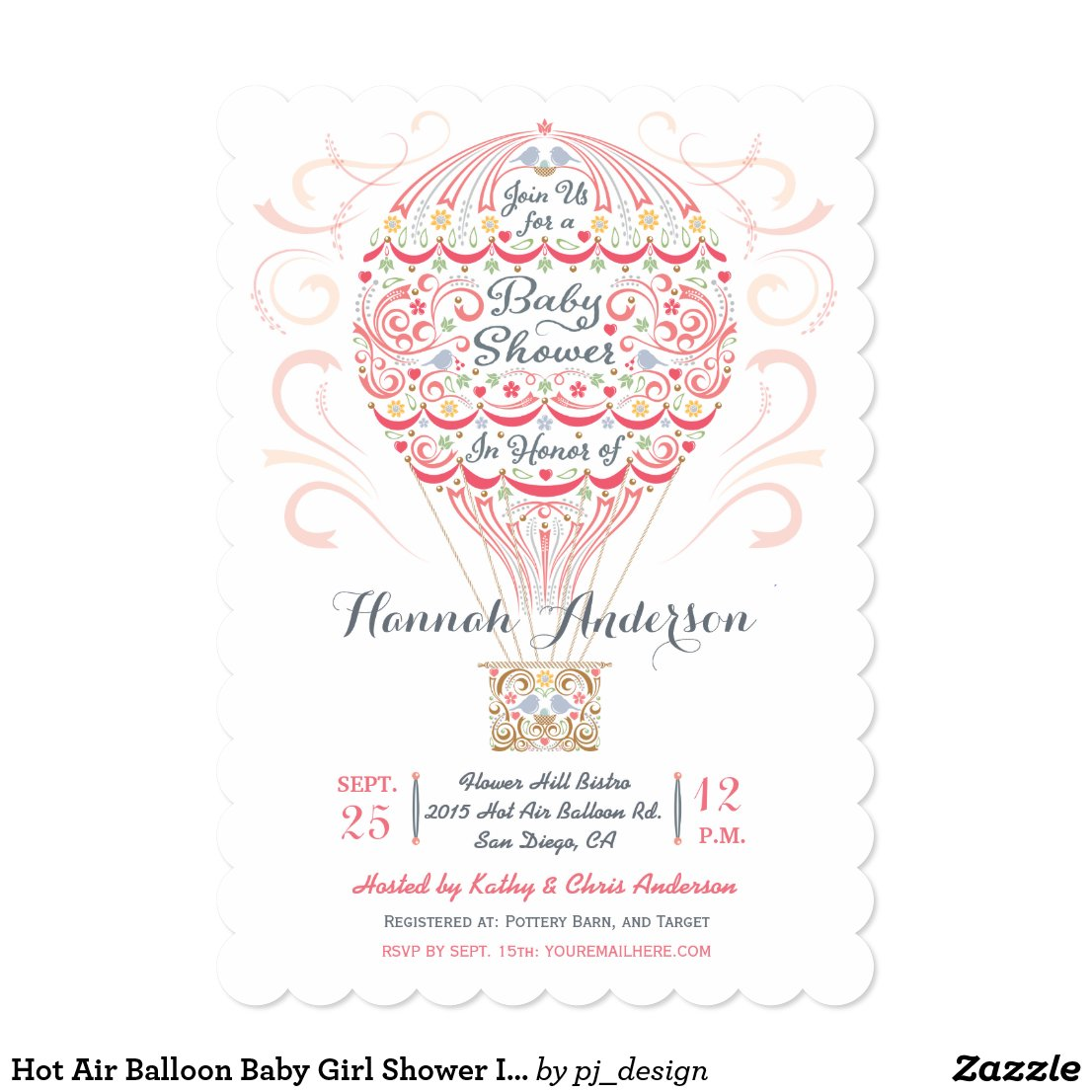 Hot Air Balloon Baby Girl Shower Invitation