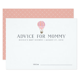 Hot Air Balloon Baby Shower Advice Cards | Pink