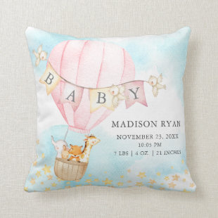 Hot Air Balloon Baby Shower Birth Birth Stats Throw Pillow