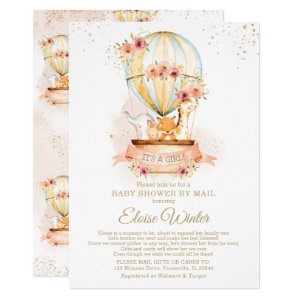 Hot Air Balloon Baby Shower by Mail Invitations with Cute Animals