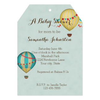 Hot Air Balloon Baby Shower Card
