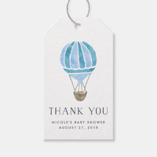 Hot Air Balloon Baby Shower Favor Tags | Blue