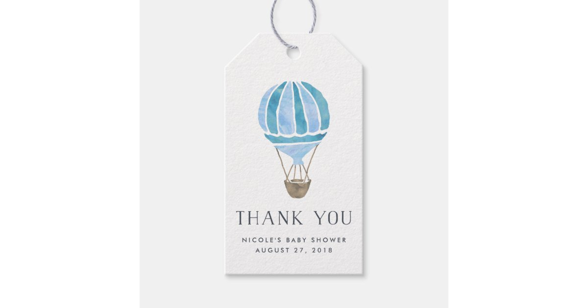 Balloon Tag: Hot Air Balloon Baby Shower Favor Tags