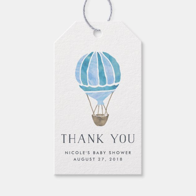 Baby Shower Favor Cards Part - 41: Hot Air Balloon Baby Shower Favor Tags | Blue | Zazzle.com