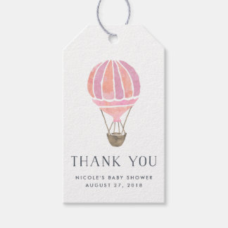Hot Air Balloon Baby Shower Favor Tags | Pink
