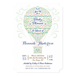 Hot Air Balloon Baby Shower Gender Neutral 5x7 Paper Invitation Card