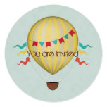Hot Air Balloon Baby Shower 5.25x5.25 Square Paper Invitation Card