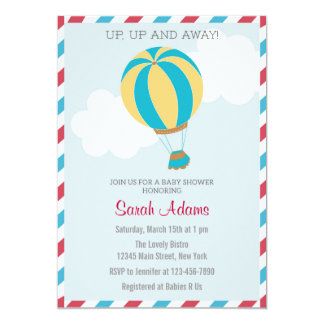 Hot Air Balloon Baby Shower Invitation Blue Red