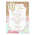 Hot air balloon baby shower invitation burlap lace
