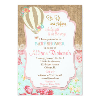 Hot air balloon baby shower invitation burlap lace
