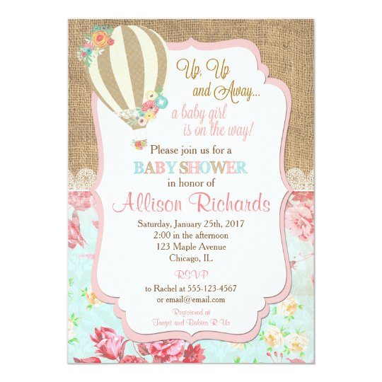 Hot air balloon baby shower invitation burlap lace zazzle hot air balloon baby shower invitation burlap lace filmwisefo