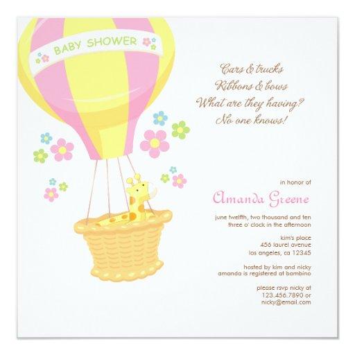 Hot Air Balloon Baby Shower Invitation Card  Zazzle