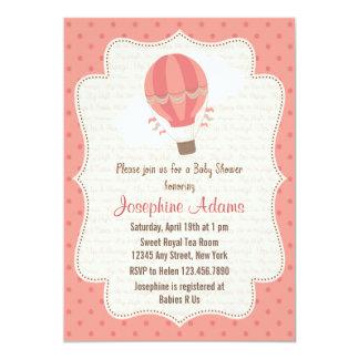 Hot Air Balloon Baby Shower Invitation Pink