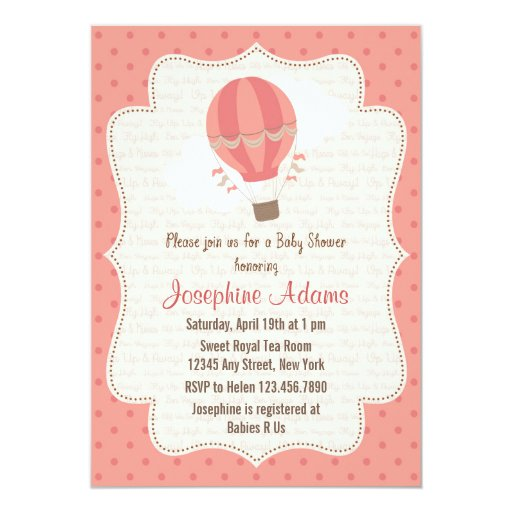 hot air balloon baby shower invitation pink zazzle