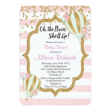 Toddler & Baby themed hot air balloon baby shower invitation pink gold