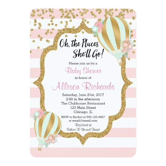 Amazing Hot Air Balloon Baby Shower Invitation Pink Gold