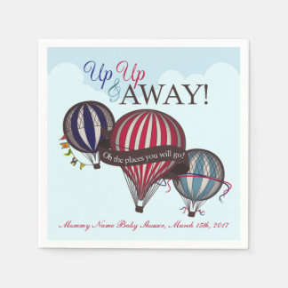 Hot air balloon baby shower napkins