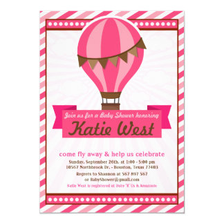 Hot Air Balloon Baby Shower Party Invitation