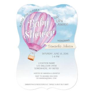 Hot Air Balloon Baby Shower - Pink & Purple Girl Card