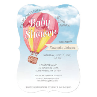 Hot Air Balloon Baby Shower - Red & Yellow Neutral Card