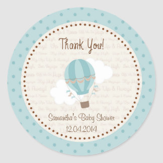 Hot Air Balloon Baby Shower Sticker Blue