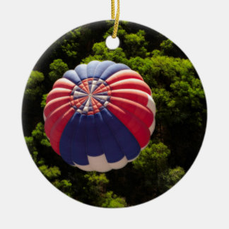 Hot Air Balloon Ballooning Above The Trees Double-Sided Ceramic Round Christmas Ornament