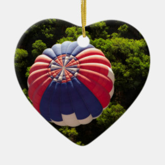 Hot Air Balloon Ballooning Above The Trees Double-Sided Heart Ceramic Christmas Ornament