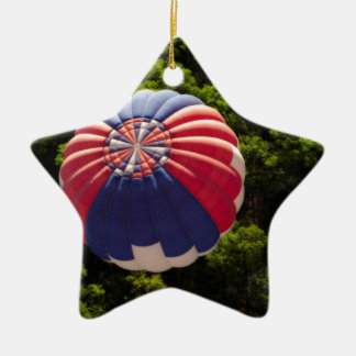 Hot Air Balloon Ballooning Above The Trees Double-Sided Star Ceramic Christmas Ornament