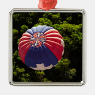 Hot Air Balloon Ballooning Above The Trees Square Metal Christmas Ornament