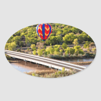 Hot Air Balloon Ballooning Over The Rio Grande Oval Sticker