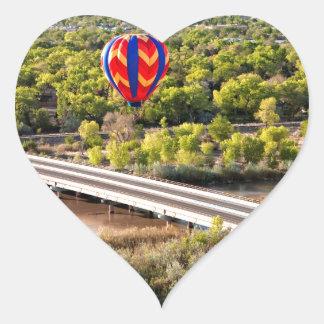 Hot Air Balloon Ballooning Over The Rio Grande Heart Sticker