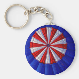 Hot Air Balloon Ballooning Red White Blue Keychain