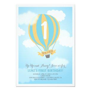 Hot air balloon birthday invitations announcements zazzle hot air balloon birthday baby boy party invite filmwisefo