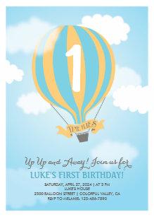 Hot air balloon invitations announcements zazzle hot air balloon birthday baby boy party invite filmwisefo Choice Image
