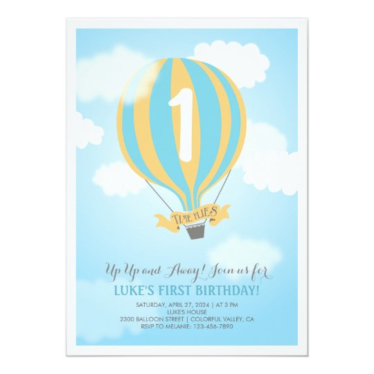 Hot Air Balloon Birthday Baby Boy Party Invite