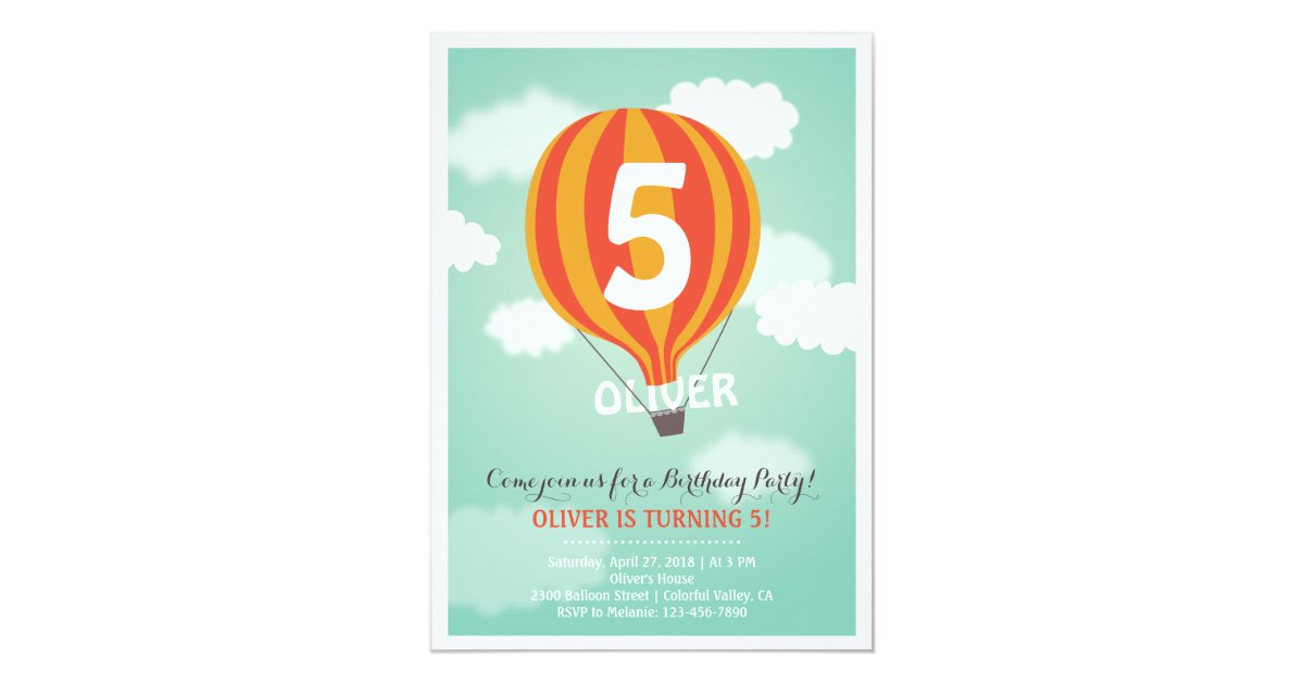 Hot Air Balloon Birthday Custom Kids