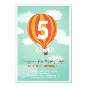 Hot Air Balloon Birthday Custom Kids Party Invite 5