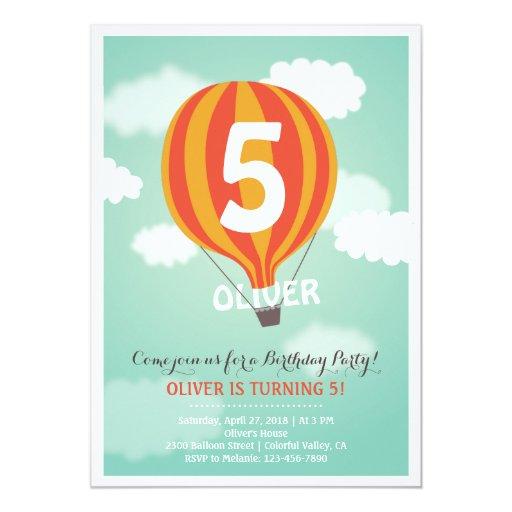 Hot Air Balloon Birthday Custom Kids Party Invite Invitation
