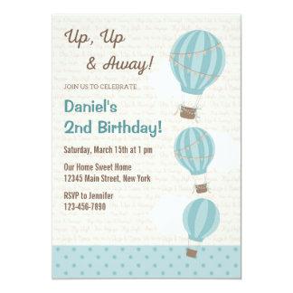 Hot Air Balloon Birthday Invitation (Blue)